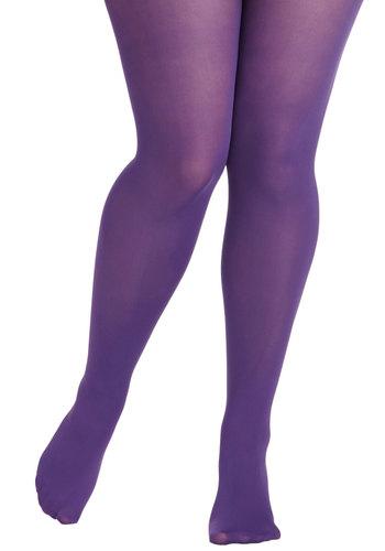 Rudimentary My Dear Tights in Purple - Plus Size - Purple, Solid, Sheer, Knit