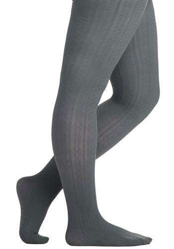 Liven Up Your Look Tights in Grey - Extended Size by Look From London - Grey, Solid, Sheer, Knit, Basic, Variation, Winter