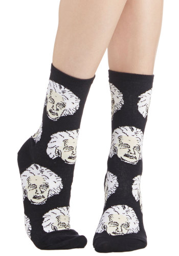 Theory of Versatility Socks - Black, White, Nifty Nerd, Good, Knit, Novelty Print, Casual, Scholastic/Collegiate