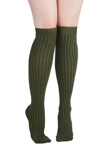 Basically Amazing Socks in Pine - Green, Solid, Urban, Scholastic/Collegiate, Darling, Nifty Nerd, Knit