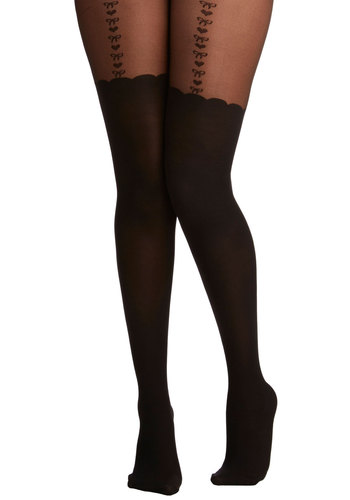 Everyday Cabaret Tights - Black, Print, Pinup, Vintage Inspired, 50s, Boudoir, French / Victorian, Sheer, Knit, Fall, Party