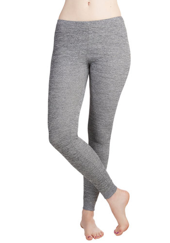 Work from Home Leggings - Knit, Grey, Solid, Casual, Skinny, Basic, Lounge