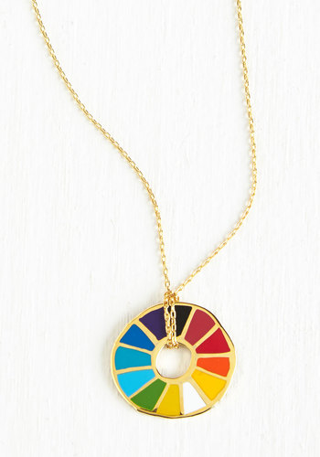Corked Necklace in Color Wheel - Multi, Gold, Casual, Eco-Friendly, Gold, Best Seller, Good, Press Placement, 4th of July Sale, Gals, Top Rated