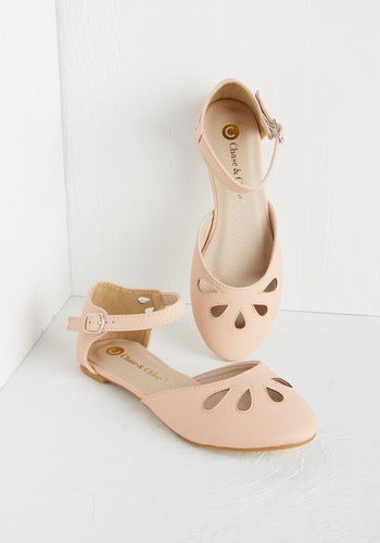Love and Appreciation Flat in Pink - Flat, Faux Leather, Pink, Solid, Cutout, Casual, Darling, Good, Pastel, Variation