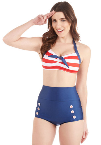 Merry Mariner Swimsuit Top by Fables by Barrie - Red, Blue, Stripes, Bows, Nautical, Summer, White, Beach/Resort, Rockabilly, Pinup, Vintage Inspired, 50s, Halter, High Waist