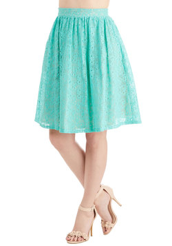 A Presh Start Skirt in Aqua