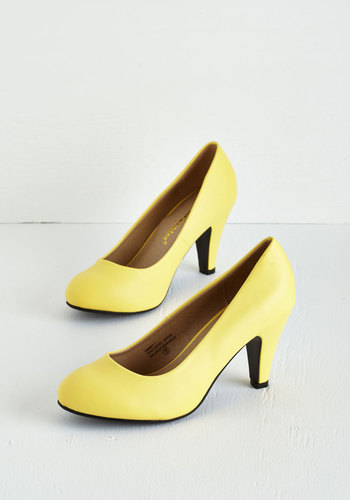 In a Classic of Its Own Heel in Yellow - Yellow, Solid, Work, Daytime Party, Minimal, Good, Faux Leather, Best Seller, Social Placements, 4th of July Sale, High, Top Rated