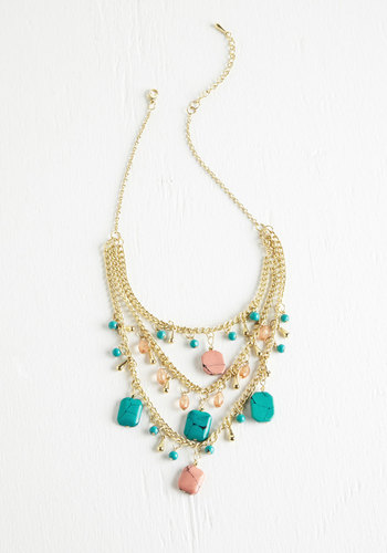 Color Your Collar Necklace - Green, Pink, Solid, Beads, Tassels, Boho, Statement, Urban, Gold, Exclusives