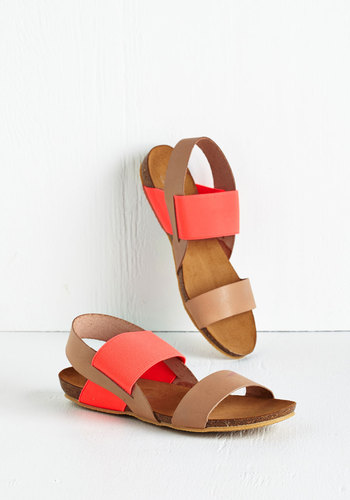 Along for the Glide Sandal - Low, Leather, Orange, Pink, Coral, Solid, Beach/Resort, Colorblocking, Summer, Festival