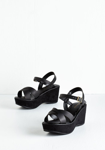 Wear It Well Wedge in Black - Mid, Faux Leather, Black, Solid, Minimal, Good, Platform, Wedge, Strappy, Vintage Inspired, 90s, Variation