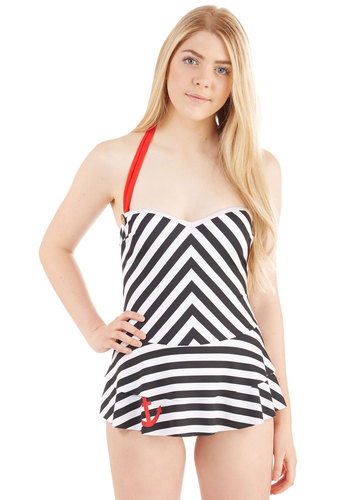 Sailor Swoon Swim Dress in Black - Knit, Multi, Red, Black, White, Beach/Resort, Nautical, Rockabilly, Pinup, Vintage Inspired, 50s, 60s, Spring, Summer, Exclusives, Halter, Swim Dress, Stripes, Variation, Private Label