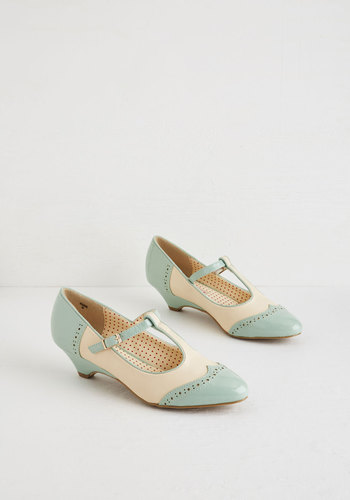Fanciest Footwork Heel in Mint by Bait Footwear - Mint, Tan / Cream, Solid, Party, Work, Vintage Inspired, 20s, Colorblocking, Better, T-Strap, Variation, Pastel