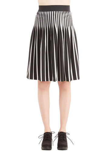 Cirque du Soiree Skirt by Ryu - Better, Black/White, Knit, A-line, Stripes, Black, Pleats, Work, Vintage Inspired, Fall, Summer, High Waist, Spring, Good, Mid-length