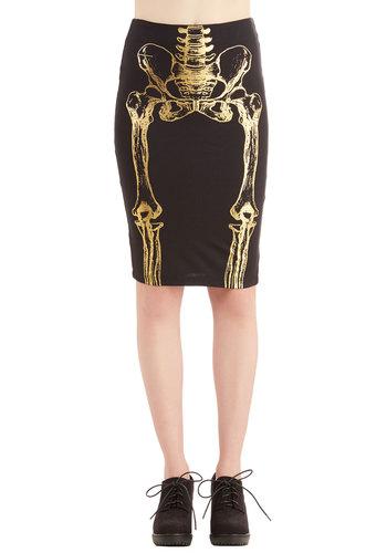 A Very Hip Engagement Skirt - Pencil, Fall, Good, Black, Novelty Print, Halloween, High Waist, Cotton, Knit, Black, 80s, 90s, Skulls, Gold, Vintage Inspired, Long