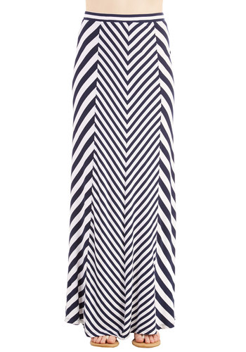 Bold Storyteller Skirt - Maxi, Summer, Good, Blue, Long, Jersey, Knit, Stripes, Black, White, Casual, Spring
