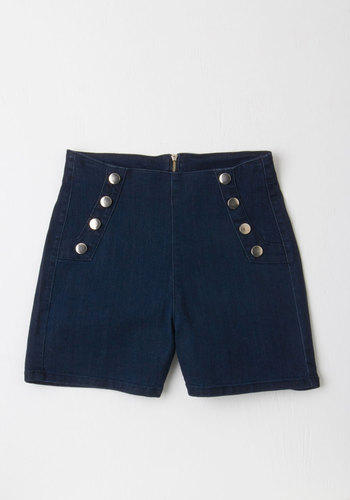 Sailorette the Seas Shorts in Dark Wash - High Waist, High Rise, Blue, Dark Wash, Short, Denim, Woven, Blue, Solid, Buttons, Casual, Nautical, Spring, Summer, Best Seller, Beach/Resort, Americana, Better, Good, Top Rated