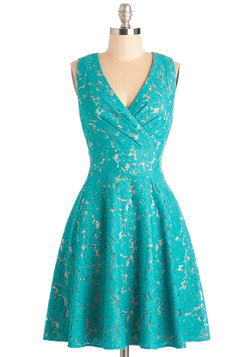 Labyrinthine Lace Dress in Teal