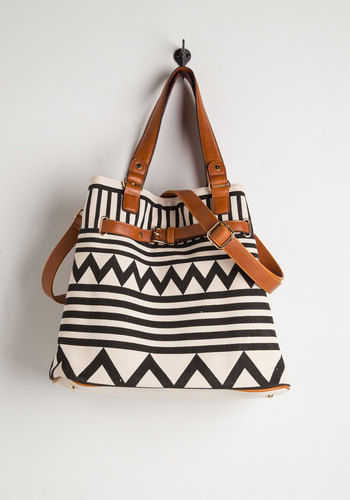 Gifted at Graphics Bag - Black, White, Tan / Cream, Print, Buckles, Faux Leather, Woven, Gals