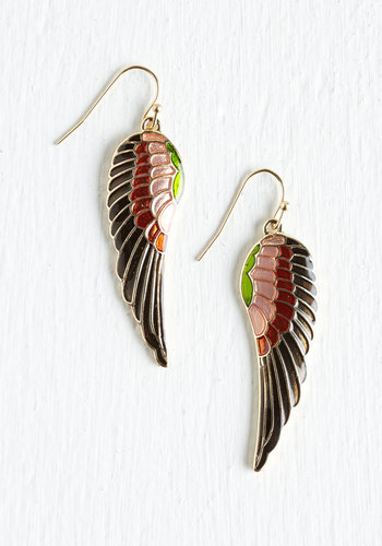 Put a Wing on It Earrings - Multi, Red, Brown, Black, Casual, 80s, Best Seller, Summer, Festival, Gold, Bird, Woodland Creature, Boho, As You Wish Sale