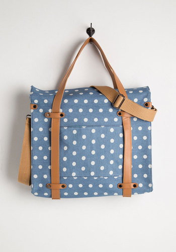 Camp Director Tote in Day Camp - Blue, Tan / Cream, White, Polka Dots, Casual, Variation, Exclusives, Work, Woven, Spring, Travel, Best Seller, Graduation, Summer, Gals, Fall, Press Placement, As You Wish Sale