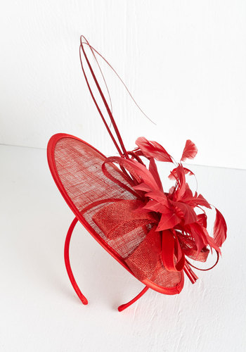 Tilt the End of Time Fascinator in Rouge - Red, Solid, Flower, Special Occasion, Wedding, Statement, Feathers, Daytime Party, Vintage Inspired, Spring, Summer, Variation, Press Placement