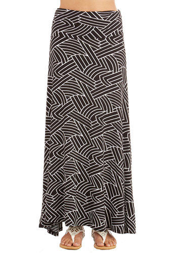One Sway Or Another Skirt in Maze - Long, Jersey, Knit, Black, White, Print, Casual, Maxi, Variation