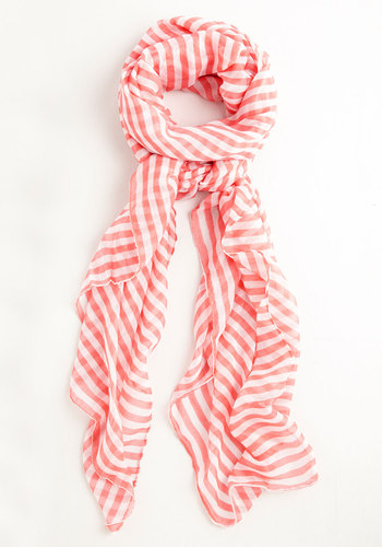 Watermelon Salsa Scarf - White, Coral, Stripes, Casual, Nautical, Orange, Sheer, Woven