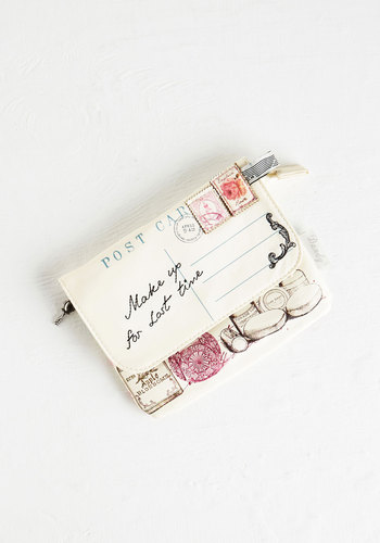 Through the Post Clutch by Disaster Designs - Cream, Casual, White, Blue, Pink, Black, International Designer, Faux Leather, Travel, Valentine's, Social Placements, Quirky, 4th of July Sale