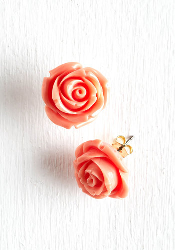 Retro Rosie Earrings - Green, Pink, Flower, Wedding, Party, Work, Casual, Vintage Inspired, Summer, Pastel, Best Seller, Daytime Party, Mint, Coral, Variation, Graduation, 60s, Bridesmaid, Valentine's, Spring, Gals, Under $20, Social Placements, Silver, As You Wish Sale