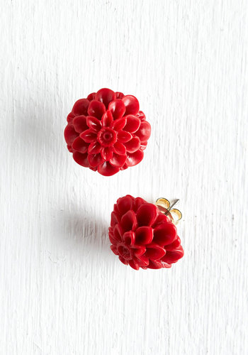 Retro Dollie Earrings - Red, Cream, Flower, Party, Casual, Vintage Inspired, Best Seller, Daytime Party, Variation, Graduation, 60s, Bridesmaid, Valentine's, Spring, Top Rated, Wedding, Bride, Silver, Press Placement