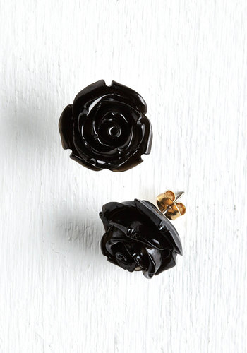 Retro Rosie Earrings in Black - Vintage Inspired, Black, Solid, Flower, Rockabilly, Best Seller, Daytime Party, Variation, Bridesmaid, Party, Valentine's, Social Placements, Wedding, Bride, Silver, Under $20, As You Wish Sale, Gals