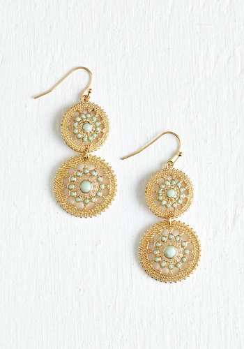 Shine is of the Essence Earrings in Mint - Mint, Solid, Tiered, Statement, Pastel, Gold, Good, Variation, Spring