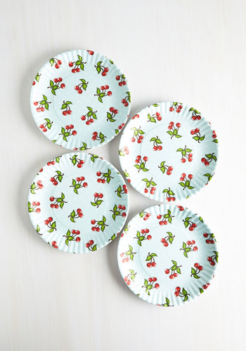 Cherry Surprise Plate Set by One Hundred 80 Degrees - Multi, Food, Good, Red, Blue, Novelty Print, Summer