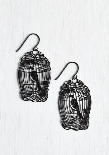 How the Caged Bird Swings Earrings - Black, Print with Animals, Casual, Vintage Inspired, Fairytale, Bird, Woodland Creature