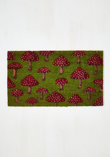 Fungi Fresh Doormat - Green, Mushrooms, Vintage Inspired, 70s, Summer