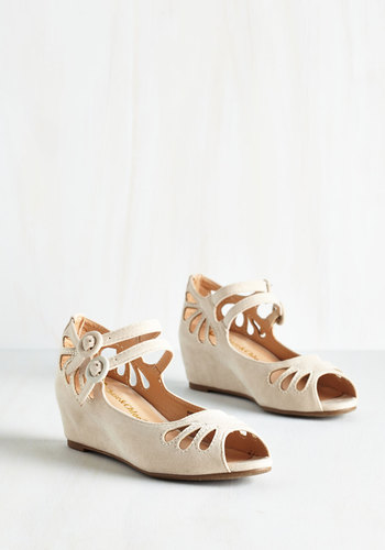 Grand Ole Opera Wedge in Cream - Mid, Faux Leather, Tan, Solid, Cutout, Wedding, Party, Bridesmaid, Good, Wedge, Variation