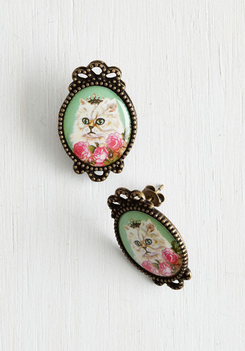 Don't Mew Look Cute Earrings - Mint, Multi, Print with Animals, Casual, Cats, Gold, Good, Spring, Summer, Quirky, Top Rated