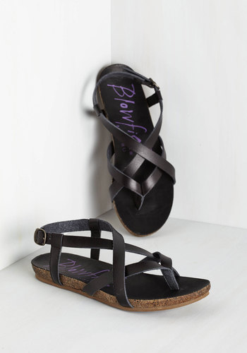 Everyday Nonchalance Sandal in Black - Low, Faux Leather, Black, Solid, Beach/Resort, Summer, Better, Strappy, Variation, Festival, Boho, Top Rated