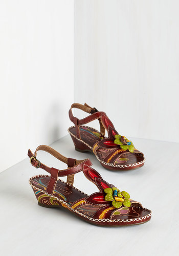 Artists' Colony Sandal - Mid, Leather, Multi, Flower, Daytime Party, Statement, Summer, Americana