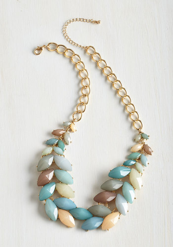 Berry Good Harvest Necklace in Breezy - Mint, Multi, Solid, Special Occasion, Spring, Gold, Good, Variation, Green, Statement, Social Placements, Boho, Urban, Exclusives, Press Placement, Daytime Party, Pastel, Gals