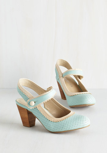 Be Bright There Heel in Mint $74.99 AT vintagedancer.com