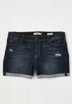 Beauty at the Beach Shorts in Dark Wash - Plus Size