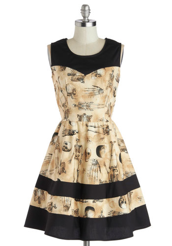 The Body Eclectic Dress - Cotton, Woven, Black, Fit & Flare, Sleeveless, Better, Scoop, Novelty Print, Casual, Halloween, Quirky, Nifty Nerd, Skulls, Tan / Cream, Mid-length