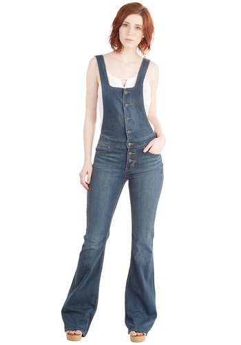Top Down Cruisin' Overalls by Dittos - Overalls, Medium Wash, Full length, Blue, Festival, Denim, Blue, Solid, Vintage Inspired, 70s, Woven, Summer, Boho, Spring, Buttons, Pockets, Casual, Rustic, Long, Best, Mid-Rise, Denim