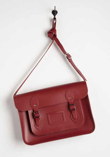 Cambridge Satchel Company Bag in Red - 14 inch by The Cambridge Satchel Company  - Red, Solid, Buckles, Luxe, Urban, Work, Scholastic/Collegiate, Leather, International Designer, Graduation, Basic, Fall, Valentine's, Press Placement, Best Seller, Gals, Winter, Top Rated