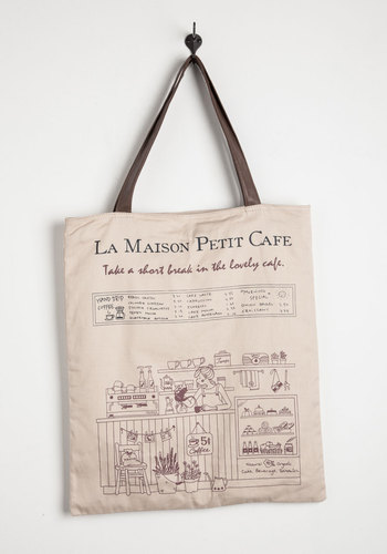 Petit Cafe Tote - Cream, Casual, Eco-Friendly, Travel, Multi, Print, Work, French / Victorian, Fall, 4th of July Sale, Top Rated