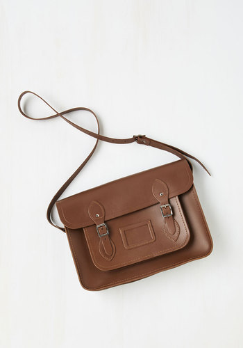 Cambridge Satchel Company Bag in Brown - 14 inch by The Cambridge Satchel Company  - Brown, Solid, Buckles, Luxe, Urban, Work, International Designer, Graduation, Basic, Fall, Leather, Best Seller, Winter, Gals, Vintage Inspired, 70s