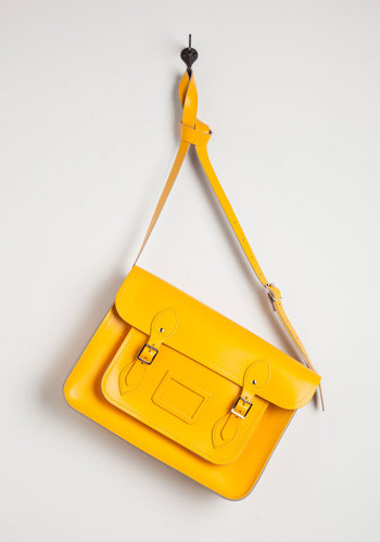Cambridge Satchel Company Bag in Yellow - 14 inch by The Cambridge Satchel Company  - Yellow, Solid, Buckles, Casual, Luxe, Urban, Scholastic/Collegiate, Leather, International Designer, Graduation, Basic, Work, Fall, Best Seller, Gals, Guys, As You Wish Sale