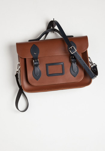 "Cambridge Satchel Company Bag in Brown & Navy - 13"" by The Cambridge Satchel Company  - Brown, Blue, Solid, Buckles, Casual, Safari, Travel, Rustic, Scholastic/Collegiate, Trim, Work, Leather, Fall, Winter"