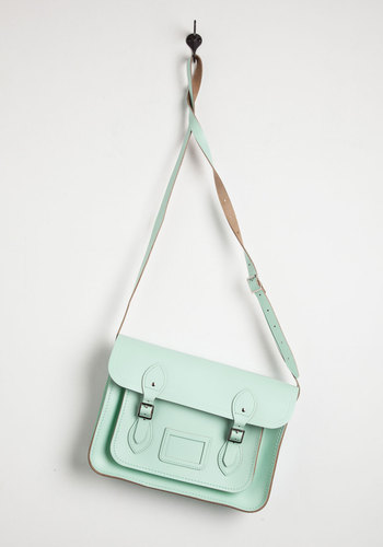 Cambridge Satchel Company Bag in Mint - 13 inch by The Cambridge Satchel Company  - Green, Solid, Buckles, Pockets, Casual, Vintage Inspired, Pastel, Work, Mint, International Designer, Graduation, Basic, Urban, Spring, Best Seller, Social Placements, Gals, Press Placement, Statement, As You Wish Sale